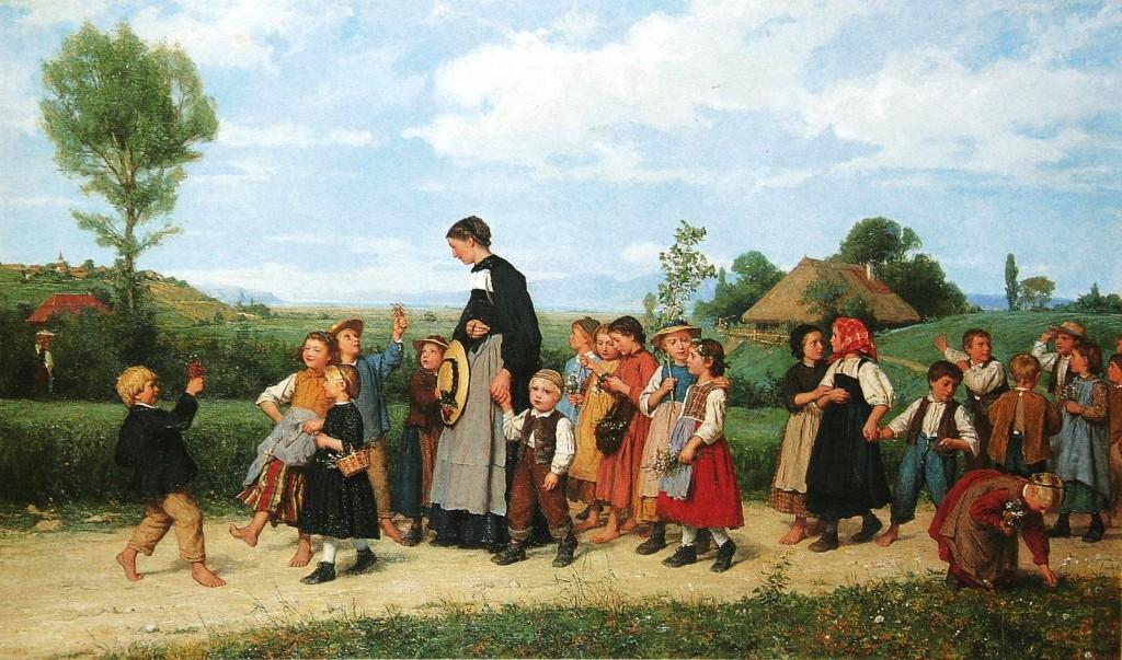 """Albert Anker: """"Der Schulspaziergang"""" (1872)"""